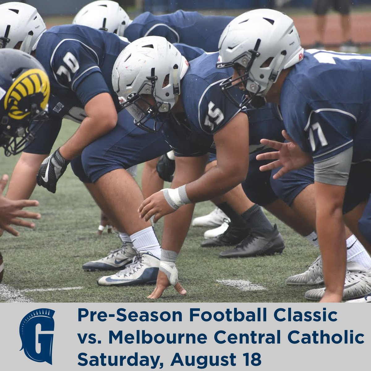 Join us at Sean Taylor Memorial Field on Saturday, August 18 at 12:00 p.m. for the Pre-Season Football Classic. Come cheer on the Raiders as they take on Melbourne Central Catholic! #GulliverPride #GulliverAthletics<br>http://pic.twitter.com/Y2rifHi5v0