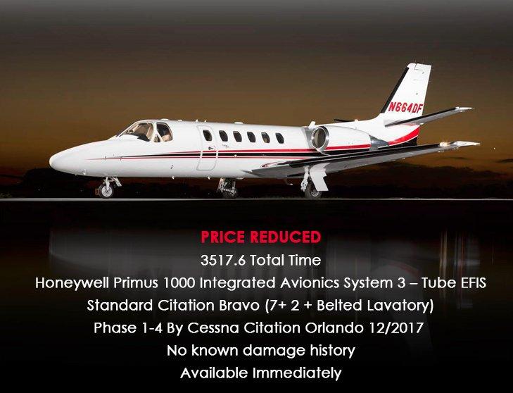 2002 #Cessna #Citation #Bravo - Price Reduced - no known damage history - Phase 1-4 available through @ECJCINC  See details at  http:// ow.ly/20TB30lqXcF  &nbsp;    #bizjet #bizav #aircraftforsale #privateaviation #privatejet  #jetforsale<br>http://pic.twitter.com/qF4WzmoPyH