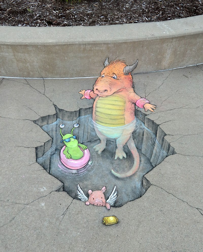 Sluggo believes in the benefit of flotation devices, even when they're more psychological than functional. #streetart #sidewalkchalk #swimminghole #monster #floaties #pigasus #sunscreen #safetyfirst<br>http://pic.twitter.com/BQ01SHUtkM