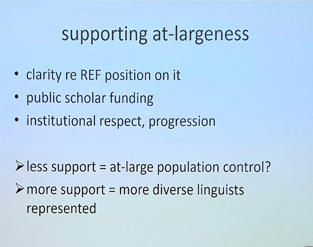 Interesting point on the balance between #REF2021 impact support, and support for &#39;public scholarship&#39; &#39;at-large&#39;. @lynneguist #impactinlx<br>http://pic.twitter.com/F6mWu5LLkw