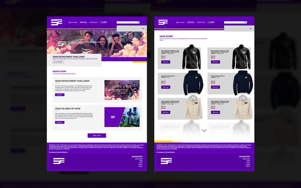 Home page &amp; Store Page Web Design - @SoaRGaming #SoaRRC HD/Full project:  https://www. behance.net/gallery/691648 81/Soar-Gaming-Web-Design- &nbsp; …  More pages coming soon!<br>http://pic.twitter.com/t7I437Buh5