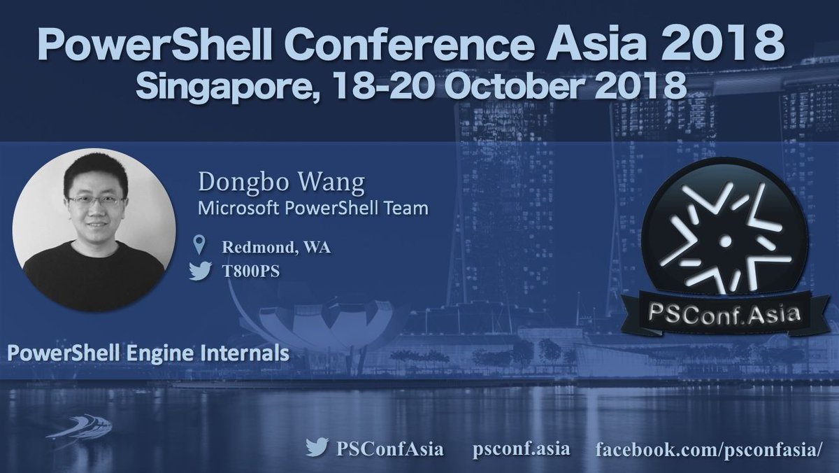Join us at #PSConfAsia and see @T800PS - PowerShell Engine Internals. Details here  http:// psconf.asia  &nbsp;   Singapore 18-20 October @Microsoft_SG @Microsoft @PowerShell_Team<br>http://pic.twitter.com/OVeGACg0Fx