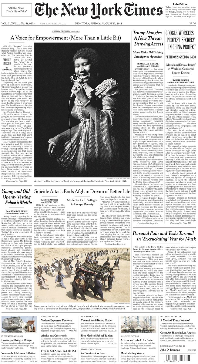 The front page of today's New York Times nyti.ms/2BsqdU6