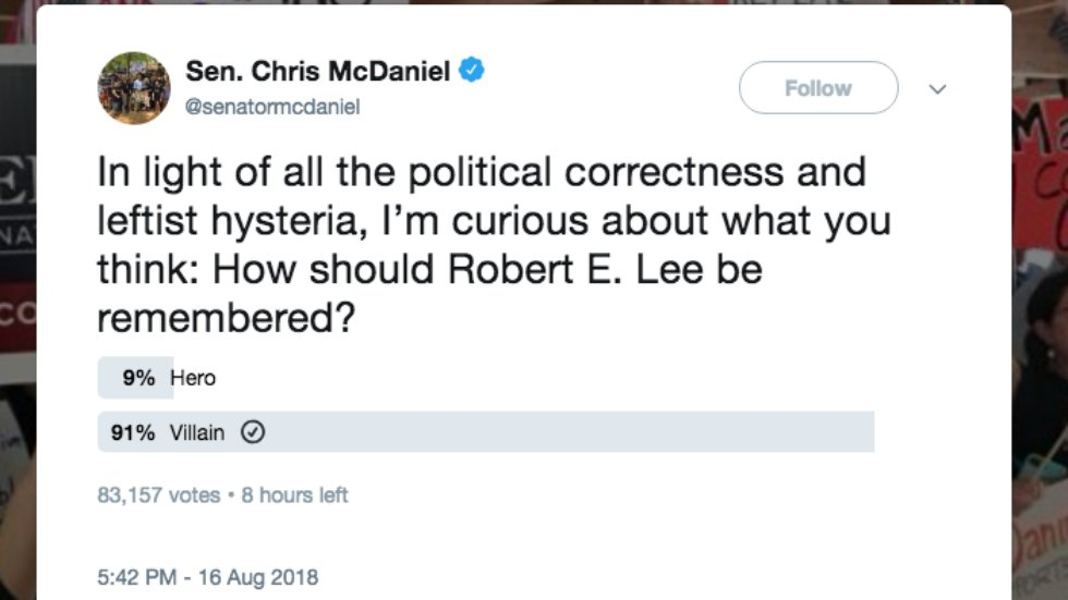 GOP Senate candidate&#39;s poll on Robert E. Lee backfires when 90% say he was a villain, not a hero  http:// hill.cm/N85FQeU  &nbsp;  <br>http://pic.twitter.com/CW142LfqHy