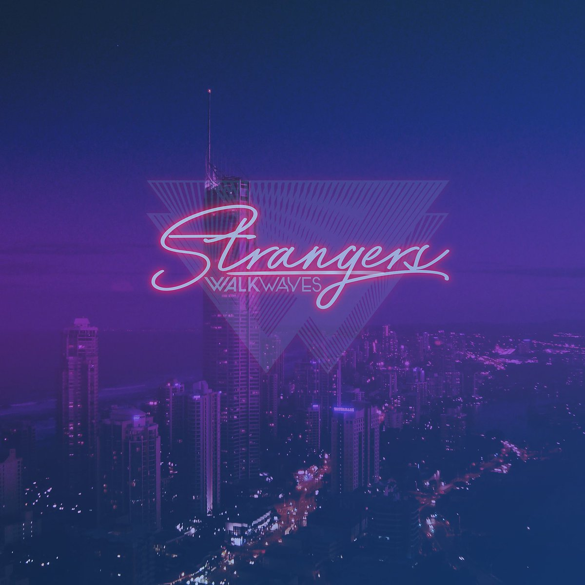 """ONE WEEK AWAY! Our new release """"Strangers"""" will be available on all streaming platforms Aug 24th!  #NewMusicFriday #NewMusicAlert #NewMusic #albumart #albumcover #retro #neon #NewSingle #NewRelease #ComingSoon #Spotify #AppleMusic #streaming #indie #electronicmusic #walkwaves<br>http://pic.twitter.com/yZ9E17wm74"""