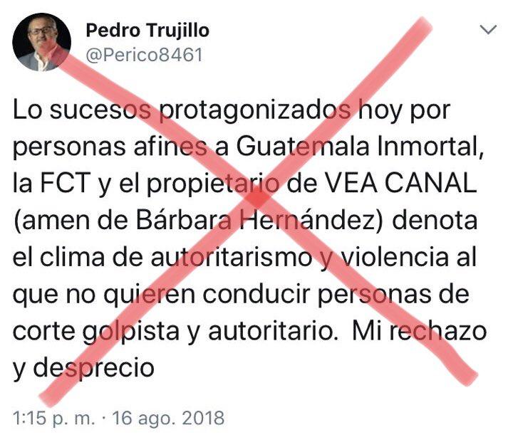 """Mi rechazo a los mercenarios extranjeros y nacionales, que vendieron sus principios y su pluma a empresarios corruptos, que financian la confrontación en Guatemala. Algunos de esos """"analistas"""" también están involucrados en graves actos de corrupción, como lavado de dinero."""