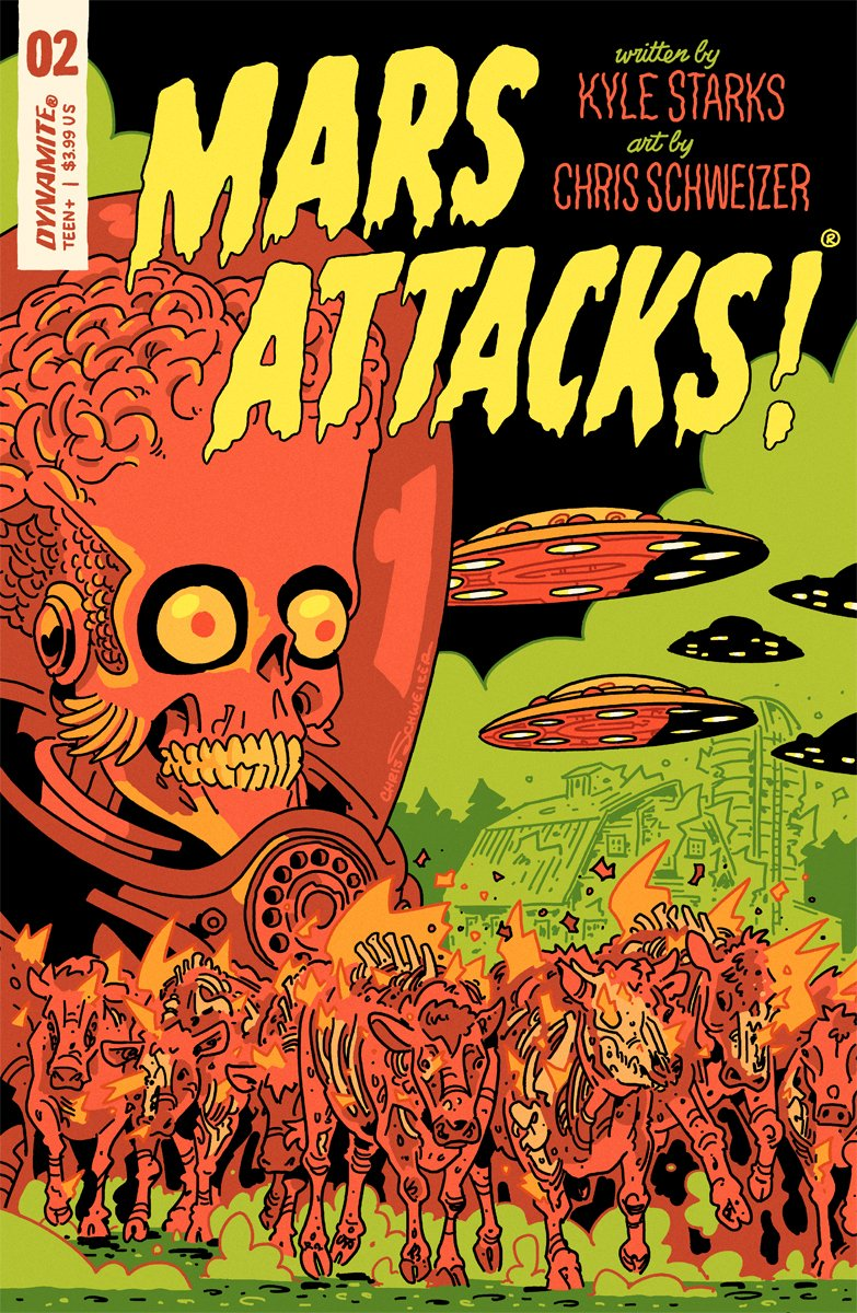Heres my cover for my and @TheKyleStarkss MARS ATTACKS #2, coming out in November from @DynamiteComics, featuring the burning cattle from card 22. You can order it at your local comic shop! Heres a process thread for how I worked it up: patreon.com/posts/20817409