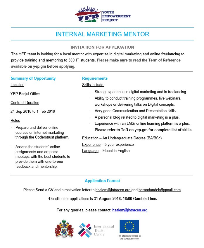 MARKETING MENTOR WANTED   YEP is looking for a mentor with expertise in digital marketing and online freelance to provide training and mentoring for 300 IT students.  Read more at  http:// yep.gm  &nbsp;  <br>http://pic.twitter.com/DimNKVFeuc