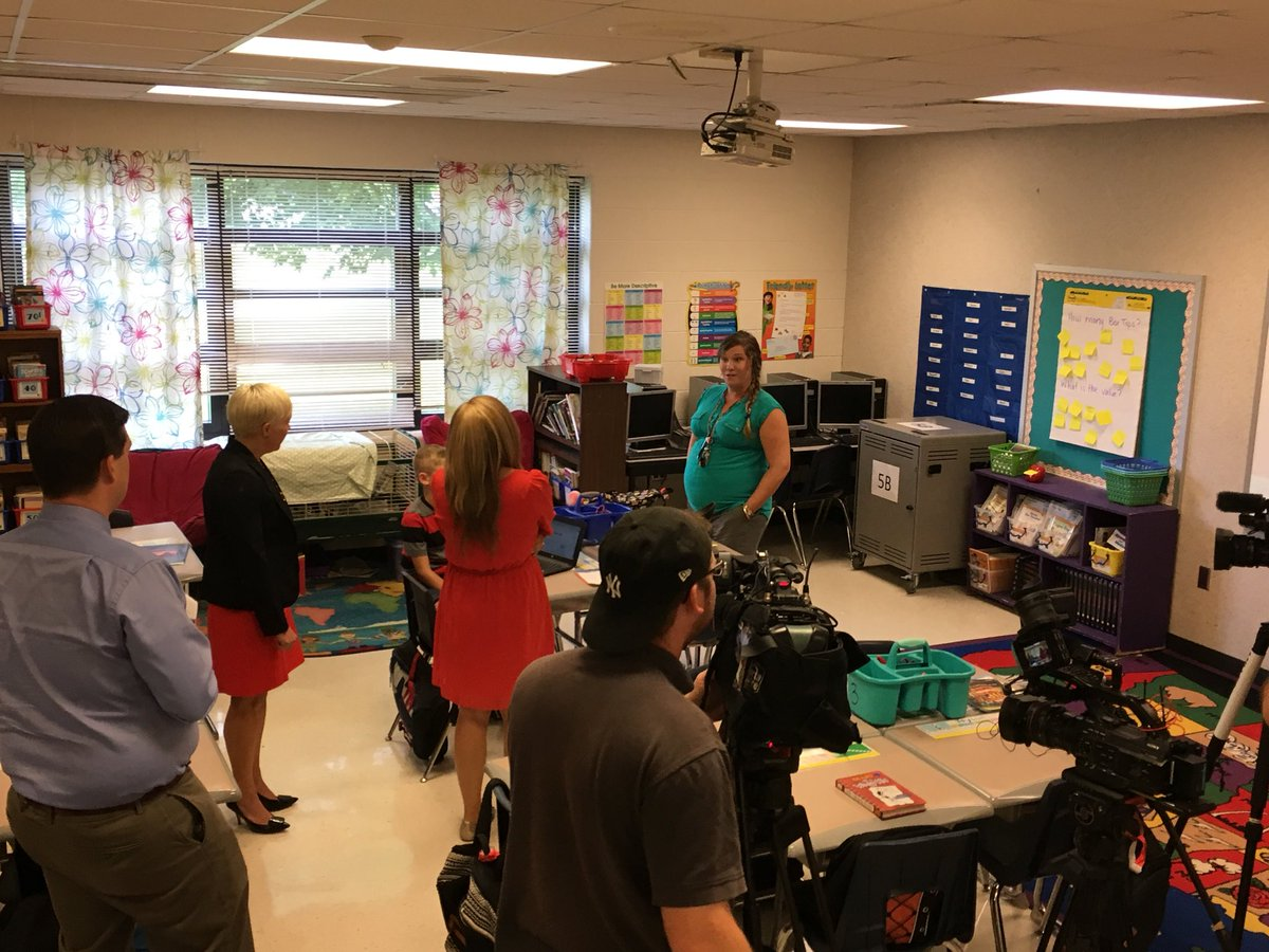 The media is here to talk to @GoldsmithNews about the #JCPSBackpack! #WeAreJCPS