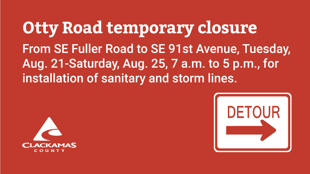 Otty Road will be closed from SE Fuller Road and SE 91st Avenue from Aug. 21-25 for sanitary and storm line installation; work scheduled Tuesday-Saturday, 7 a.m.-5 p.m. Detours are in place. #pdxtraffic @ClackCoSheriff @PDXTrafficNow  http://www. bit.ly/roadClosures  &nbsp;  <br>http://pic.twitter.com/0YC0pdrnQA