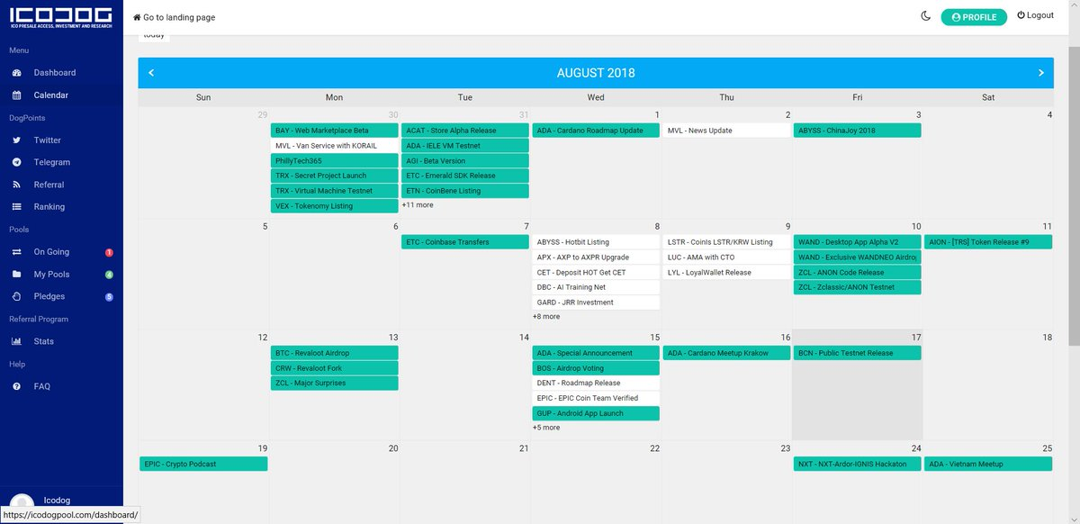 Crypto Calendar Now Live only at  http://www. icodogpool.com  &nbsp;     Current Features: Shows all events for all major coins Upcoming Features:  - Whitelist Dates for top 10% ICOs - ICO DATES for top 10% ICOs  Other suggestions? Leave a comment below  <br>http://pic.twitter.com/QTdDBIJTgf