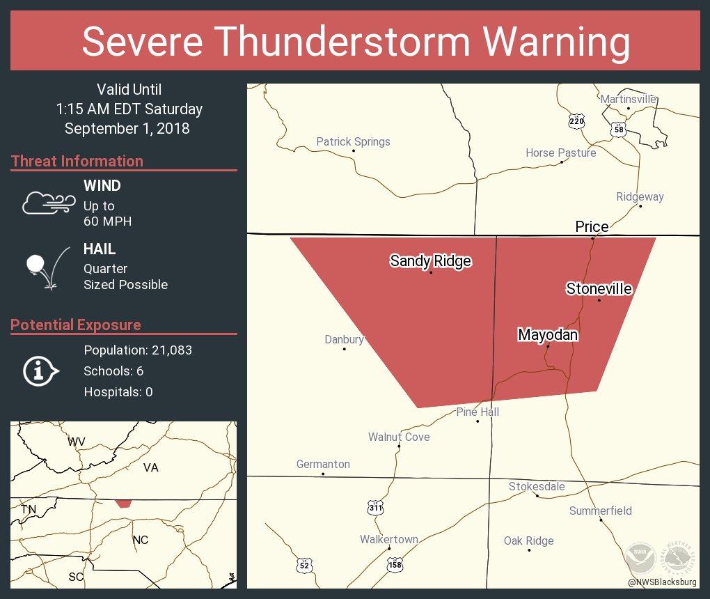 Nws Blacksburg On Twitter Severe Thunderstorm Warning Including