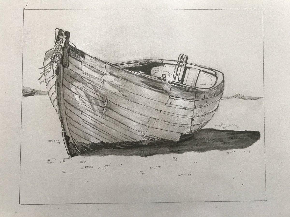лодка картинка карандашом след преступников