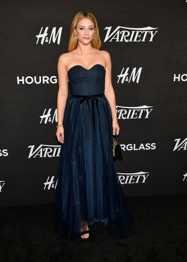 f1c662516755 Lili Reinhart wore an H&M blue dress to Variety's Power of Young Hollywood  Celebration. She accessorized with #SaraWeinstock earrings. ...