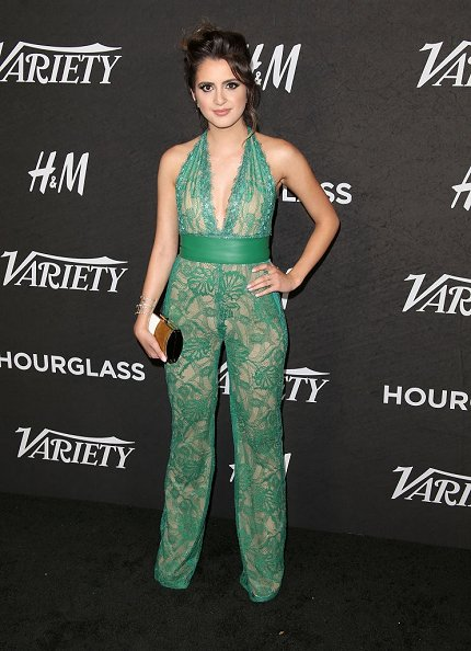 7439dbf89853 laura marano wore a spring 2017 green lace jumpsuit to variety s power of  young hollywood