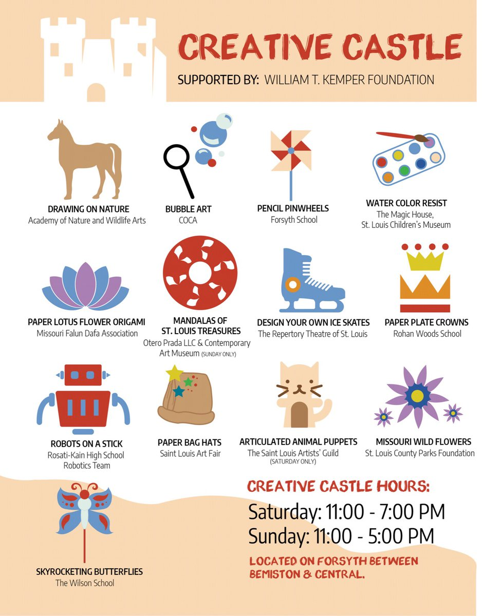 We can't wait for Creative Castle! Check out all of the awesome crafts we have lined up for Art Fair weekend! 🎨🏰 #stlartfair #creativecastle #letsgetcreative