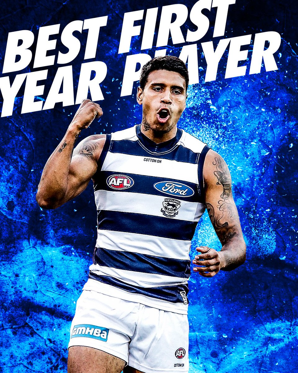 Tim Kelly has smashed the field to be named the Best First Year Player at the AFLPA MVP Awards 🙌  #StandProud #WeAreGeelong