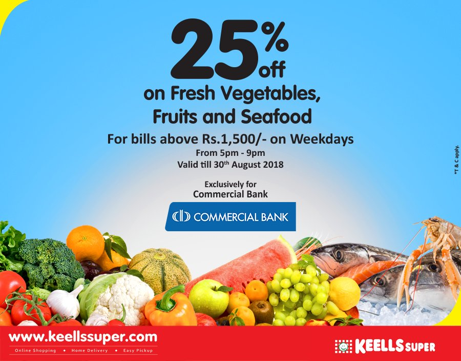 Enjoy great offers for fresh produce every Saturday at Keells Super! Flat 25% off on  Fresh Vegetables, Fruits and Seafood for Commercial Cardholders. For bills over Rs.1500. *T&C apply https://t.co/kYeXrWcX8F