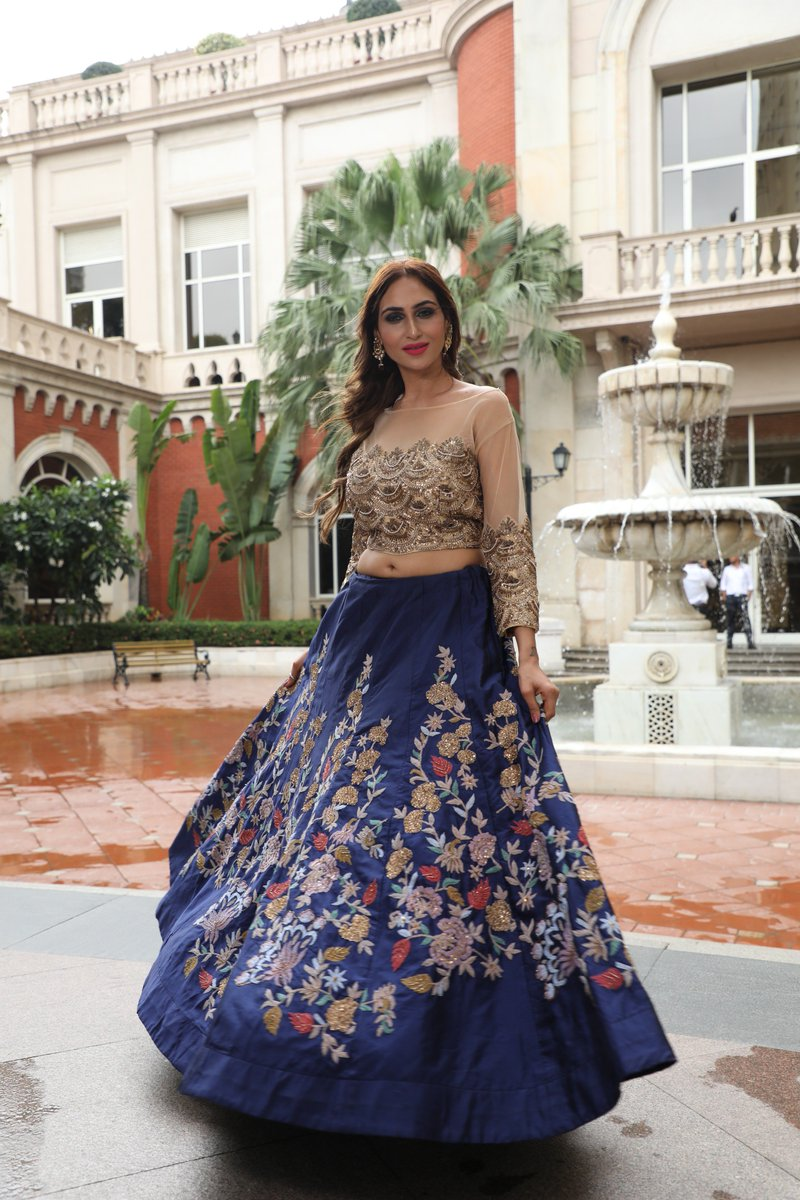 8834301d11a ... blue Crop top Lehenga. Add a twist in your casual look! Store :  QueensCouture, 3-A, Lawrence Road, Amritsar, Punjab – 143001  #croptoplehenga #lehenga ...