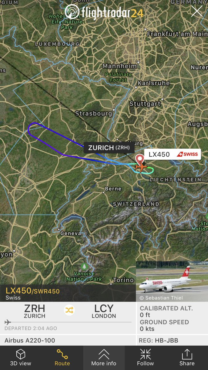 Swiss flight #LX450 from Zurich to London (LCY) returned to ZRH due to a technical issue https://fr24.com/SWR450/1daf7561pic.twitter.com/h7XfjyX5Pn
