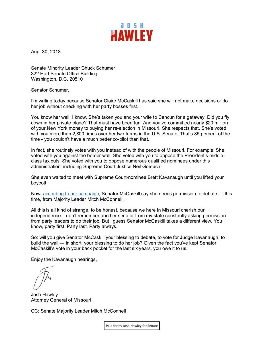 Josh Hawley On Twitter I Sent A Letter Today To Senschumer