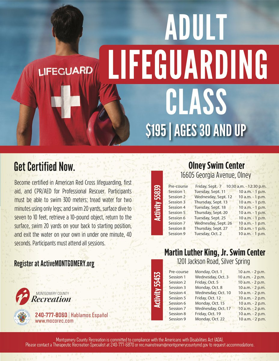 Moco Rec On Twitter New To Mocorec Adult Lifeguard Training For