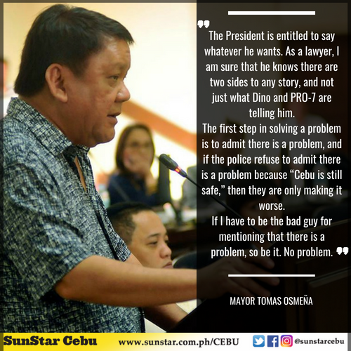 READ: President Rodrigo Duterte beats up Cebu City Mayor Tomas Osmeña in his speech before Mandauehanons during the Charter Day celebration earlier tonight at the Mandaue City Sports and Cultural Center. Osmeña answers back in his FB page.