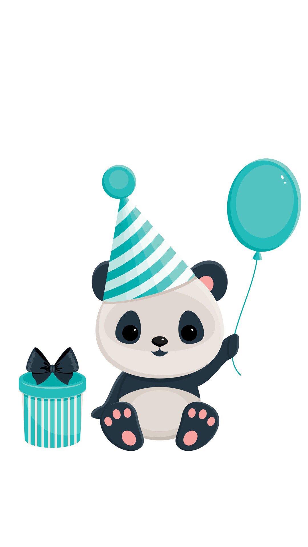 Открытка с днем рождения с пандами