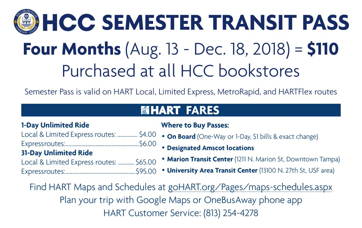 "hart on twitter: ""hcc students: pick up the @hccfl semester pass for"