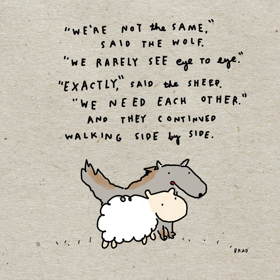 The wolf and the sheep realized they were very different.