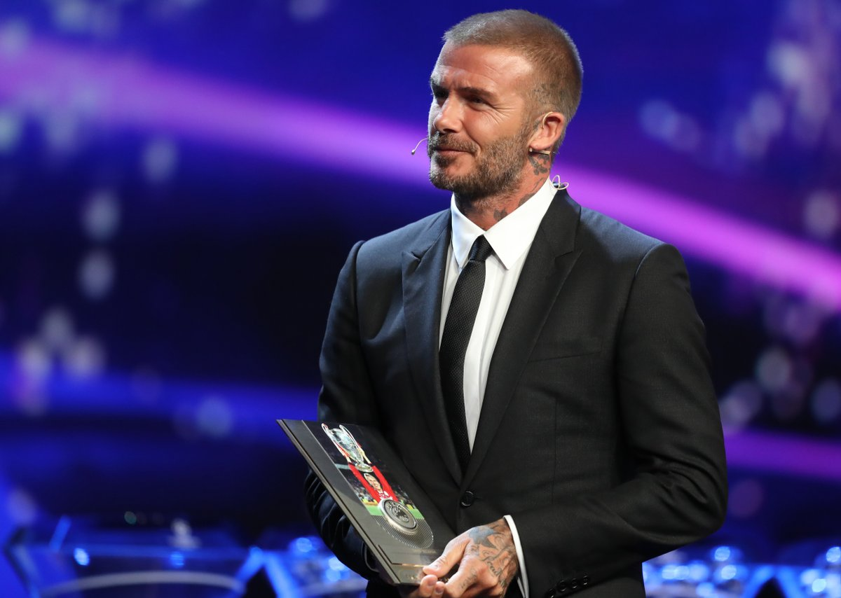 Image result for David Beckham Champions League awards 2018