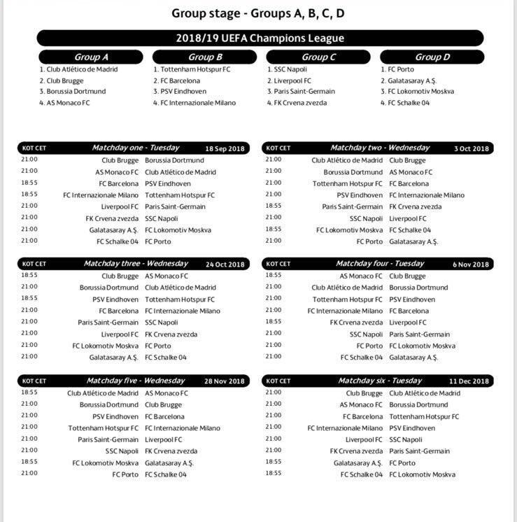 Calendario Completo.El Calendario Completo De La Fase De Grupos De La Champions