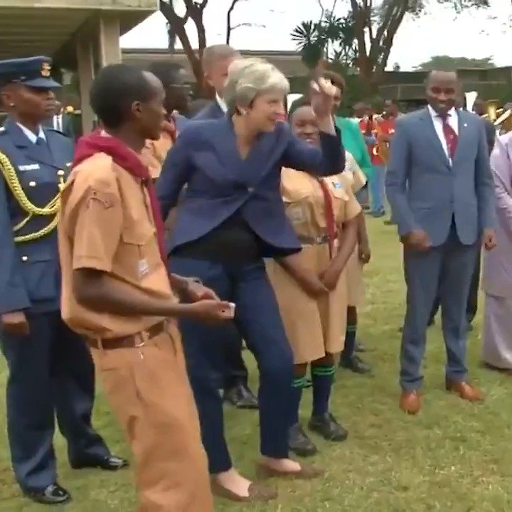 Theresa May filmed dancing again on her African trip