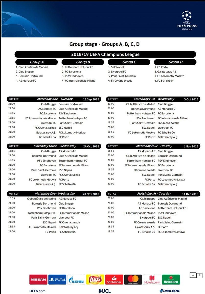 Champions League Calendario Completo.Giovanni Cardarello On Twitter Il Calendario Completo