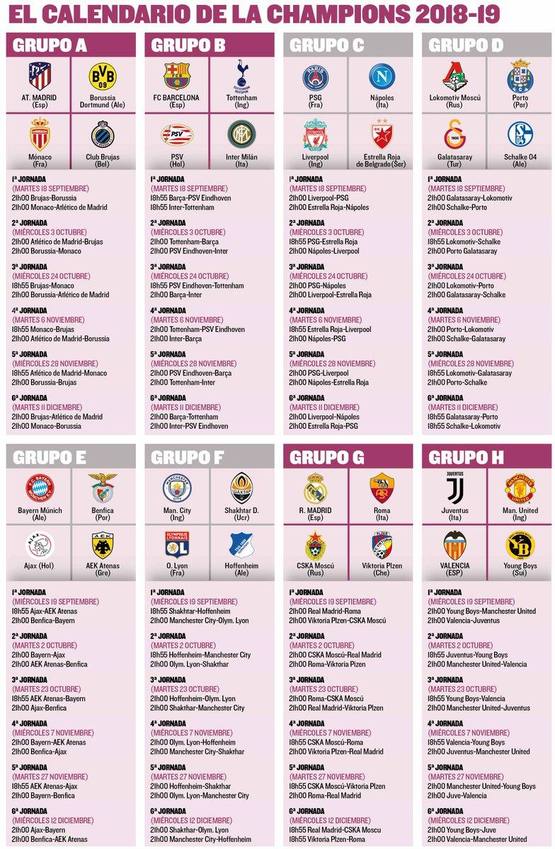 Calendario Champions Legue.Infografiamd On Twitter Descubre Todo El Calendario De La