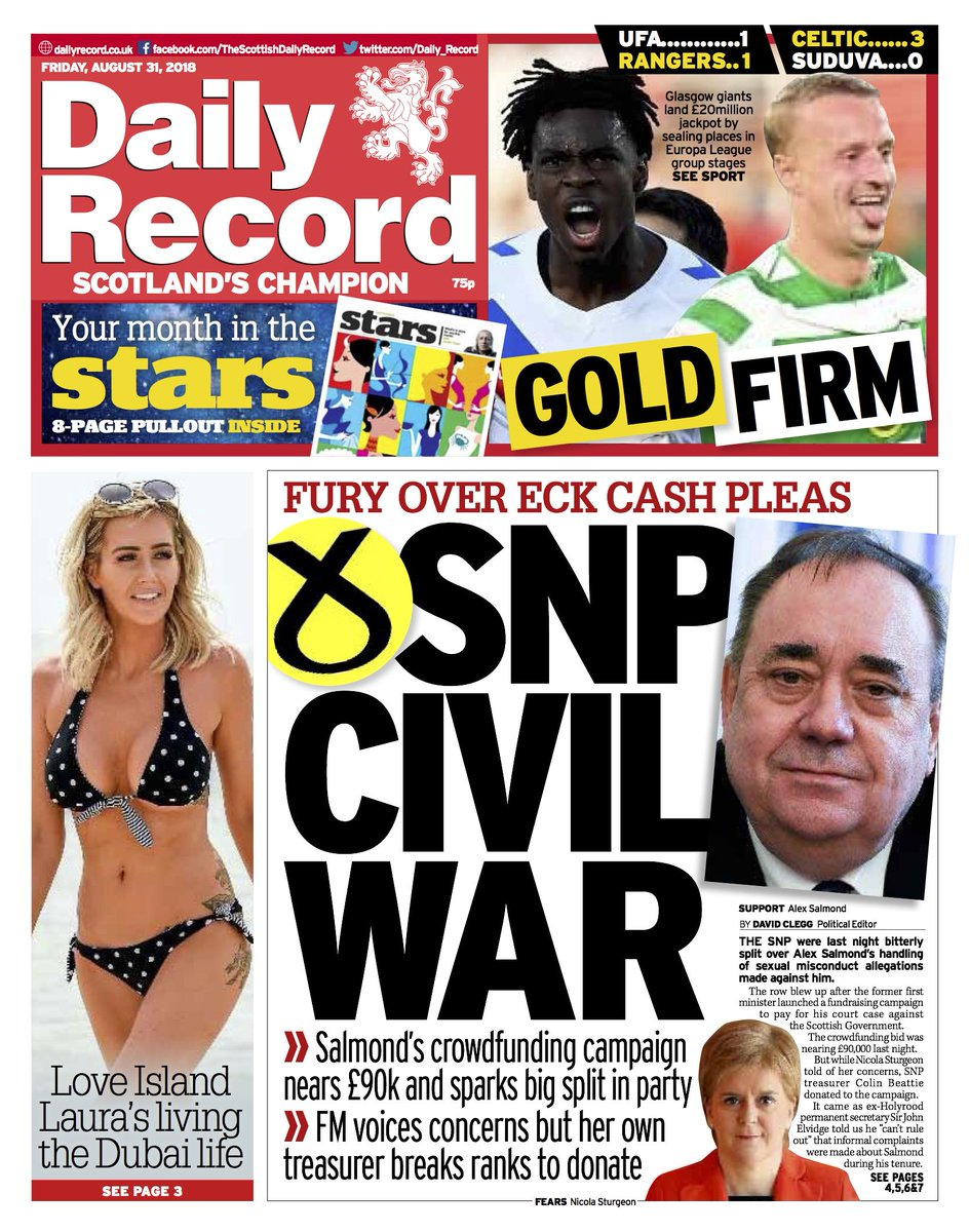 2c261f105b5 Good morning Scotland. Here s today s Daily Record front page  Alex  Salmond s crowdfunding campaign sparks