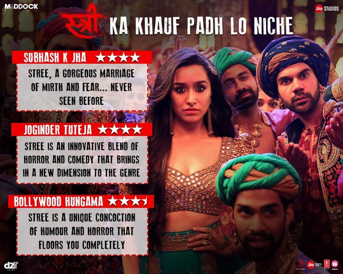 Extremely happy & thankful with the response for #Stree!! 👻 🙏🏽 #StreeInCinemasNow   Book tickets: https://t