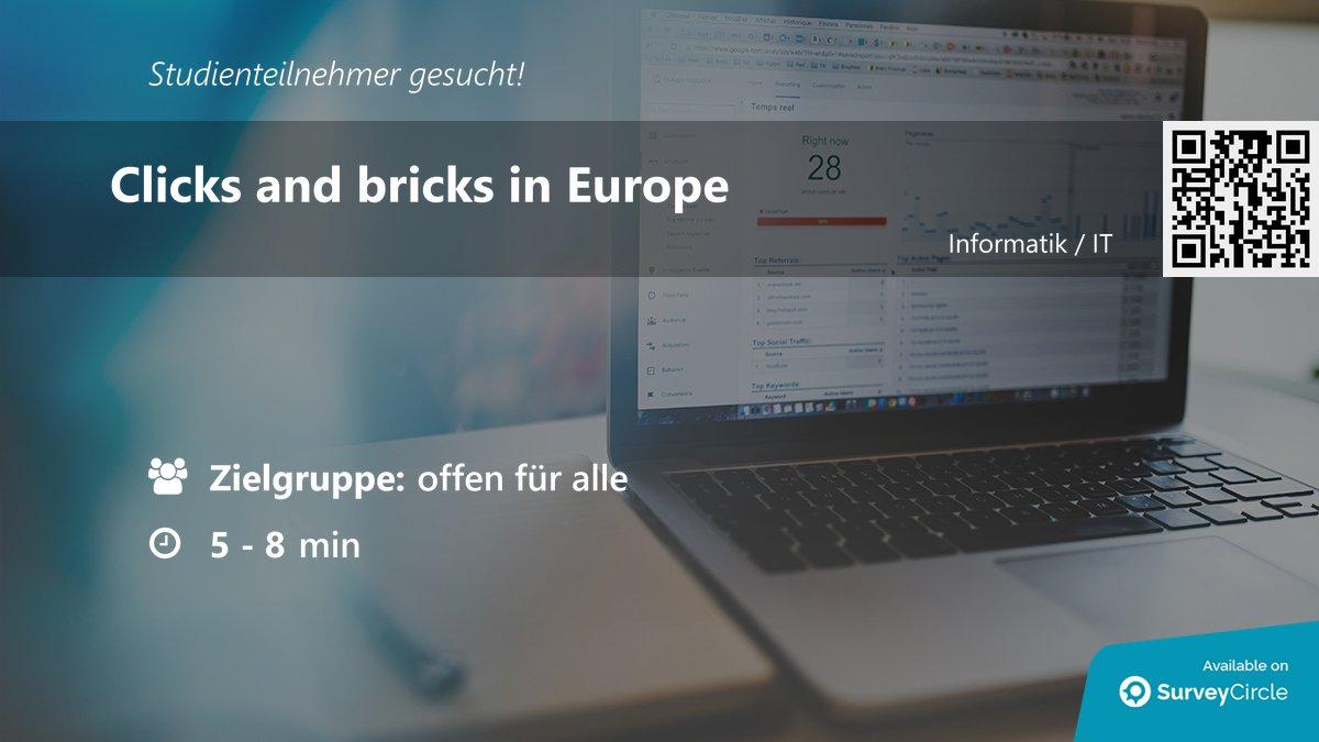"""Aktuelle Online-Studie, für die noch Teilnehmer gesucht werden:  """"Clicks and bricks in Europe"""" https://www.surveycircle.com/surveys/#ad92396730ba… via @SurveyCircle   #DigitalisierungImHandel #Digitalisierung #Handel #ClicksAndBricks #Europepic.twitter.com/9h54JdYrGm"""