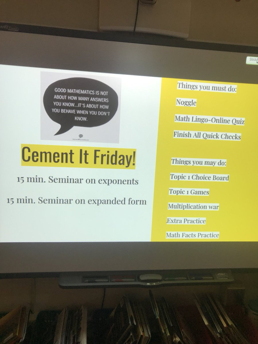Cement it Friday in 5th grade math @CraigElementary! #studentaccountability #independence #mathfoundations