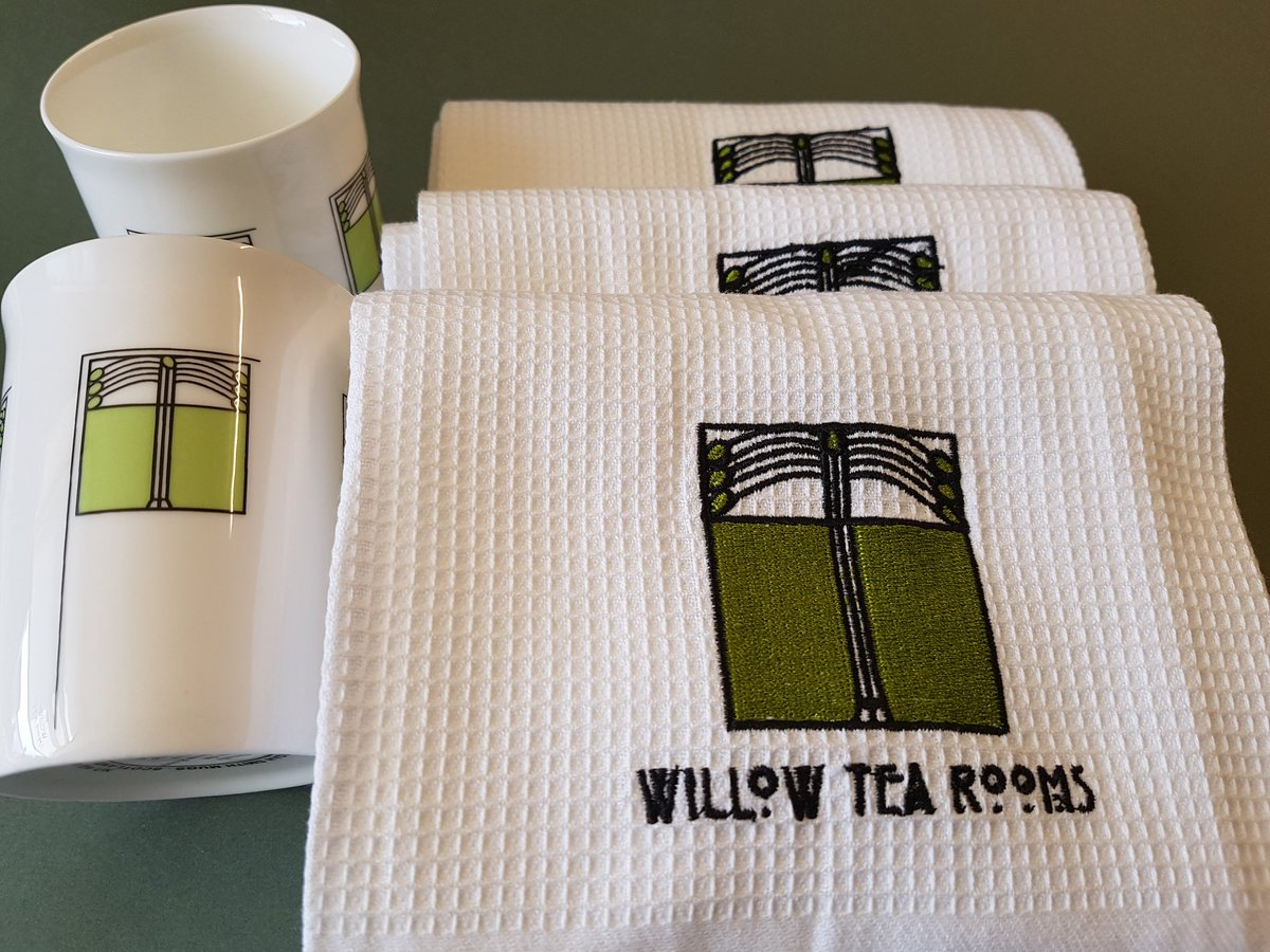 Our latest addition to our tea towel range - our Ingram panel design to match our mugs. These will be available in our gift shops and online shop today #ingramstreet #inspiredbymackintosh