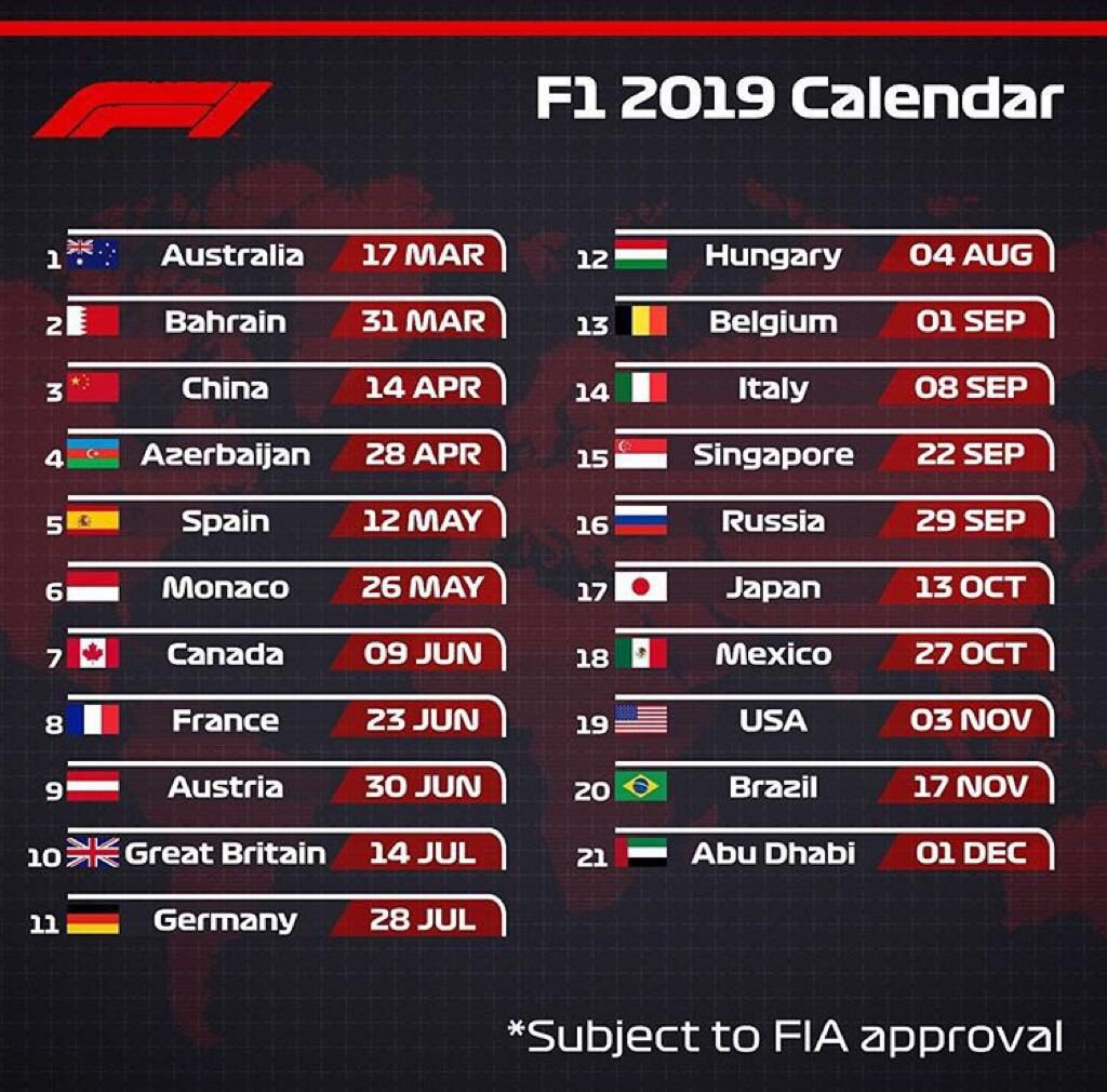 Calendario Gp F1.Fernando Tornello On Twitter Calendario De F1 2019 Con