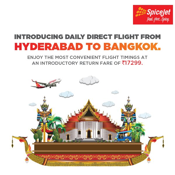 Hyderabad to bangkok flight