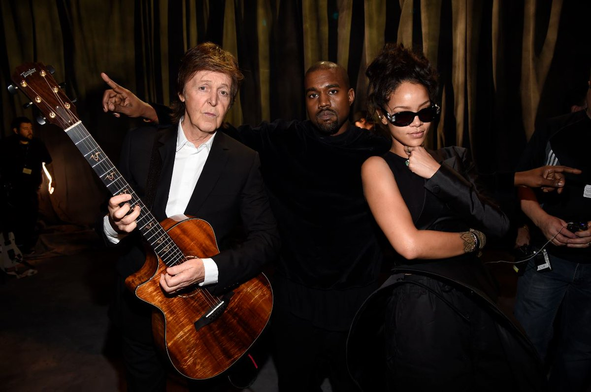 Weekend crew!   @PaulMcCartney, @KanyeWest, and @Rhianna backstage at the at the 57th #GRAMMYs in 2015.  #GRAMMYVault <br>http://pic.twitter.com/TuTcdOPeVp