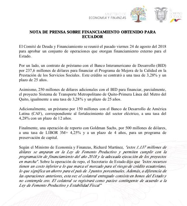 🗣 NOTICIA IMPORTANTE  Informamos sobre financiamiento obtenido para Ecuador 🇪🇨. 