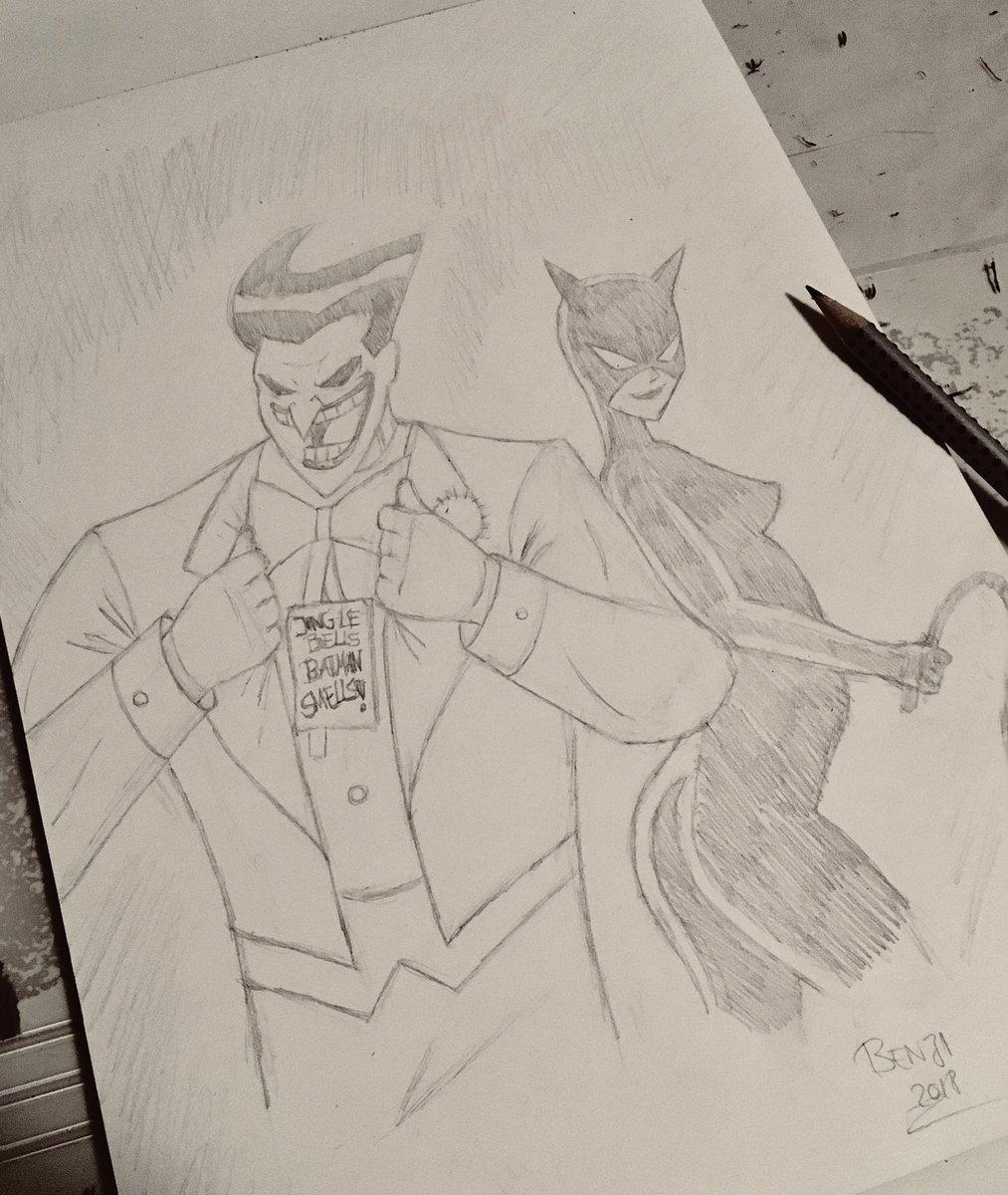 Benji on twitter pencil sketch of my favourite batman villains
