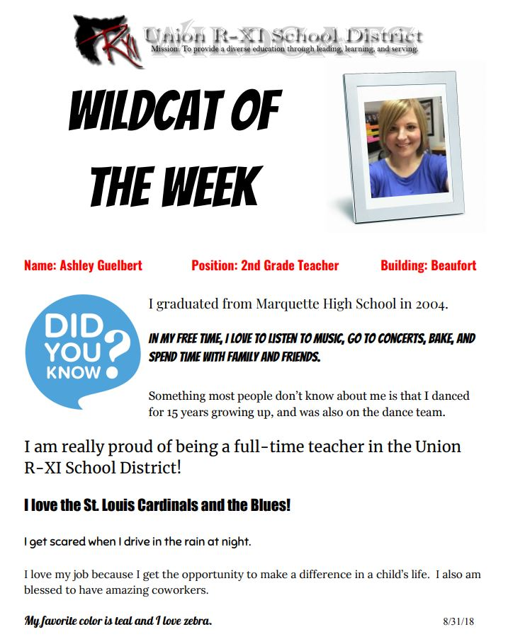e07ca5f890 ... we d like to highlight Ashley Guelbert as our Wildcat of the Week.  Ashley