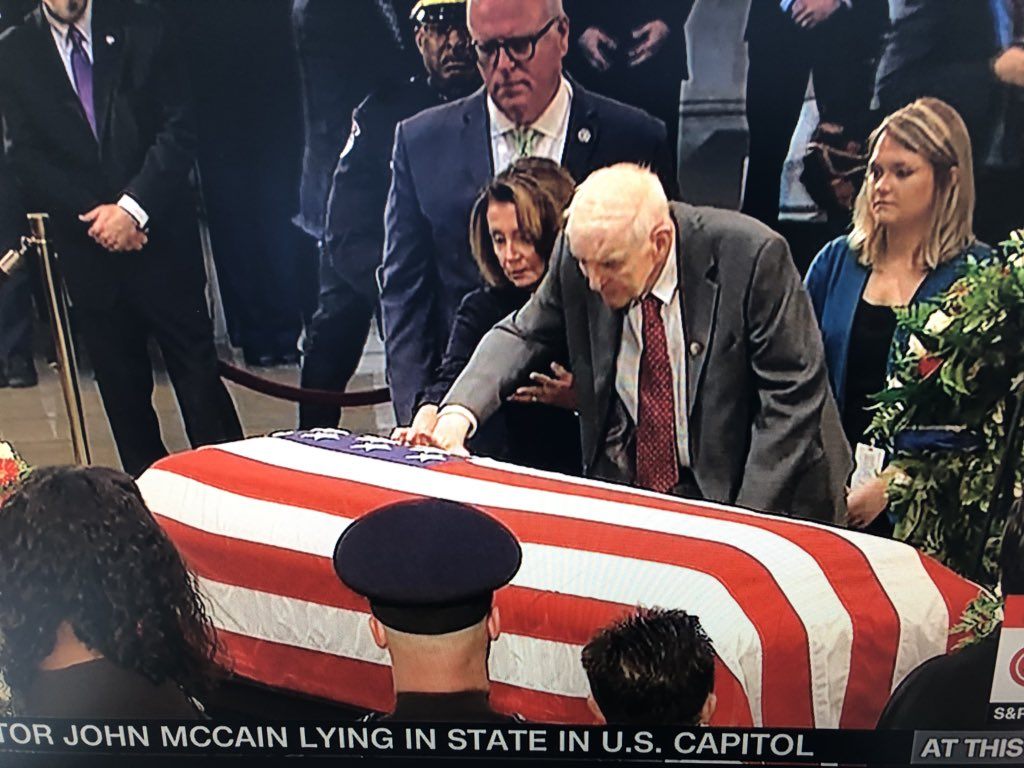 A powerful moment that will likely go unnoticed by most. Nancy Pelosi escorts Congressman Sam Johnson of Texas to casket of #JohnMcCain.  Johnson is one of the most conservative members of Congress and also spent 7 years as a POW in the Hanoi Hilton.