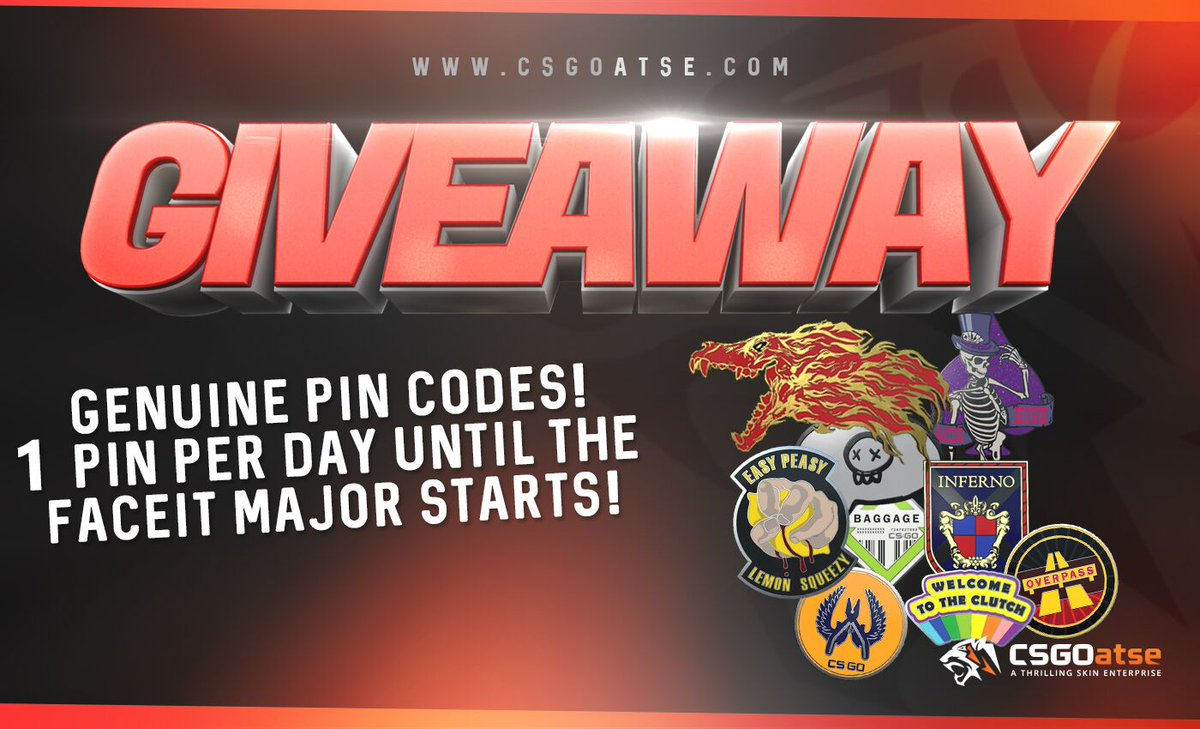 🔥🔥SPECIAL GIVEAWAY!!🔥🔥  We're giving away 1 Genuine Pin every day until the Faceit Major starts!!  ✅Like, Follow, Retweet  Also, weekly leaderboard's prize pool will be $25.000 during the major and you'll receive 2x points from matchbetting bets!! 🙀  Good luck everyone!