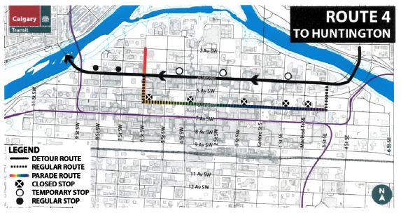 Ctriders For The Calgary Pride Parade 2018 Some Of Our Buses Will Detour Off 6th Av Here Are Maps Of The Detours For Route4 Route Route