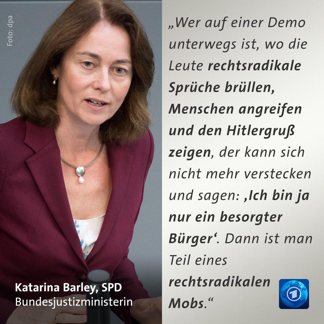 """Rechtsradikale dürften nicht länger als """"besorgte Bürger"""" verharmlost werden, sagt Justizministerin #Barley https://t.co/DLiMX9igyQ  #Chemnitz"""